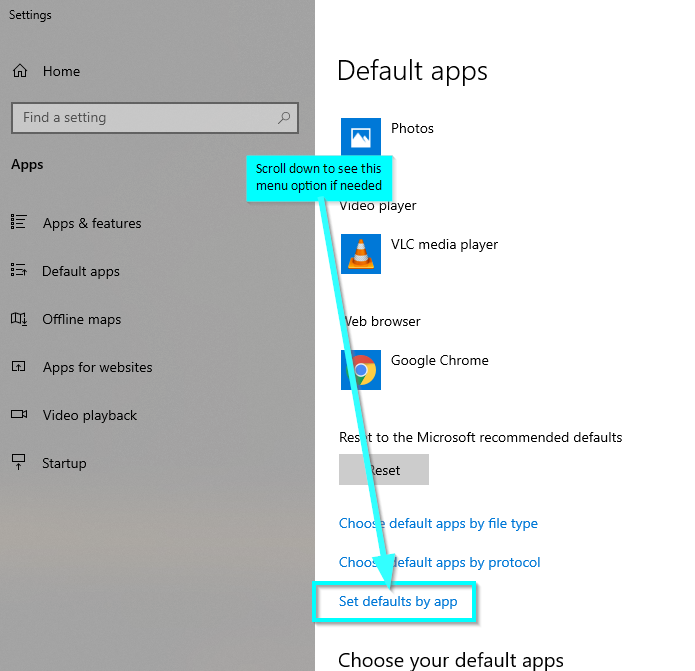 Set default by apps