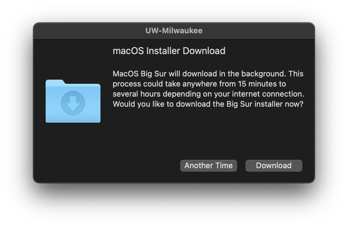 Choice to download the Big Sur Upgrade