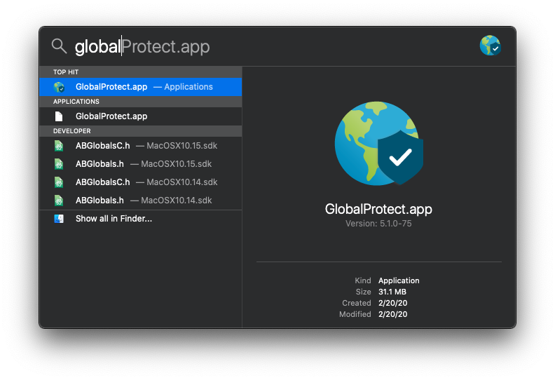 Spotlight - GlobalProtect search