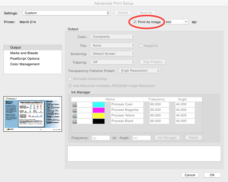 Adobe PDF - OS X Print dialog advanced