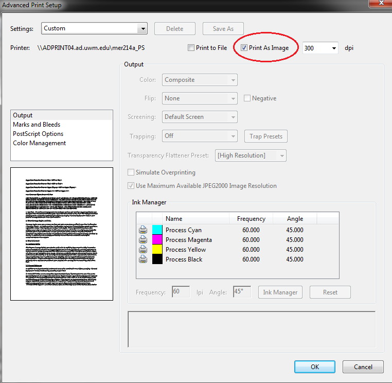 Windows - Adobe print dialog - Advanced settings