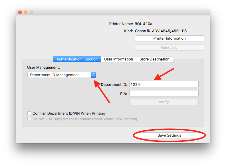 Canon Print Utility menu for Department IDs - macOS