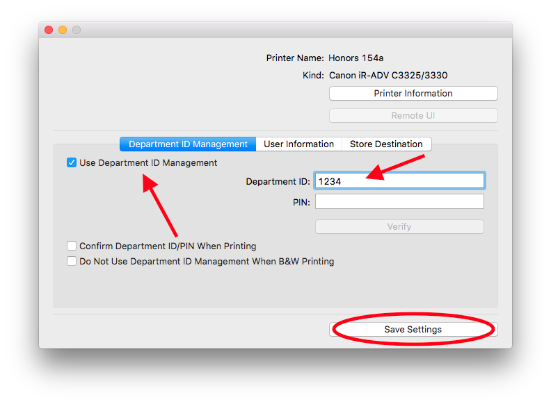 Alternate canon print utility screen for setting up department ID's