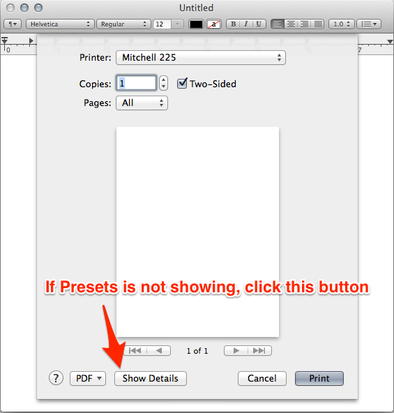 OS X Print Dialog with details shown