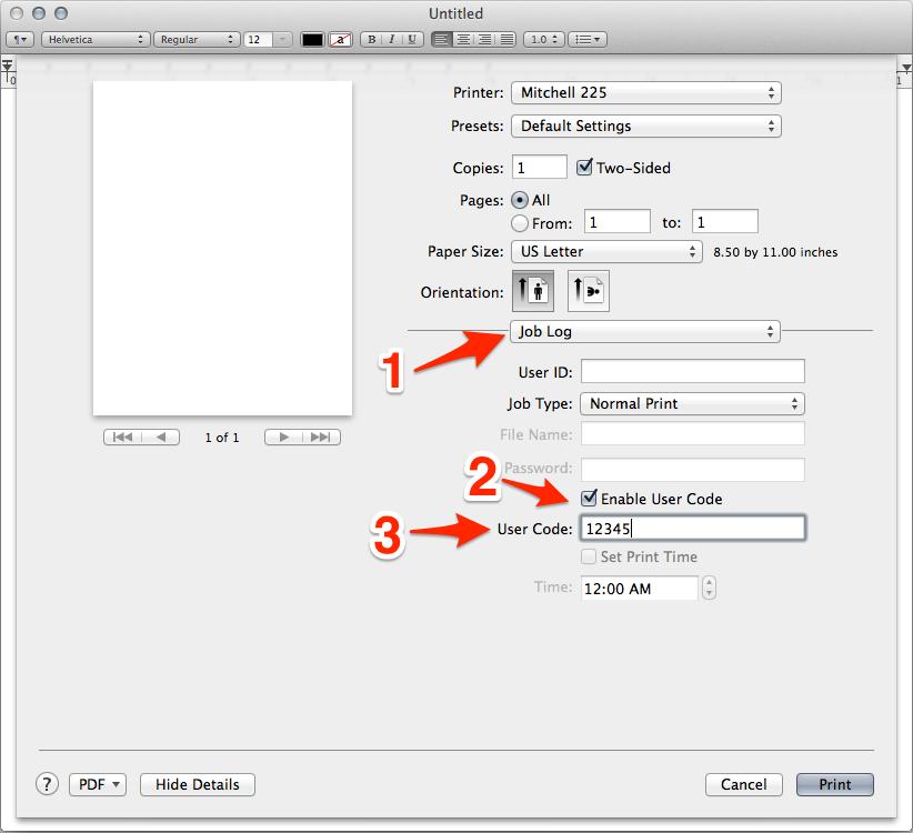 OS X printer options menu with Job Log dialog open