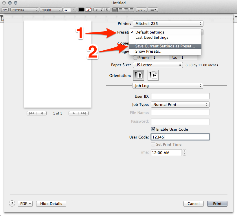OS X print dialog with presets menu expanded