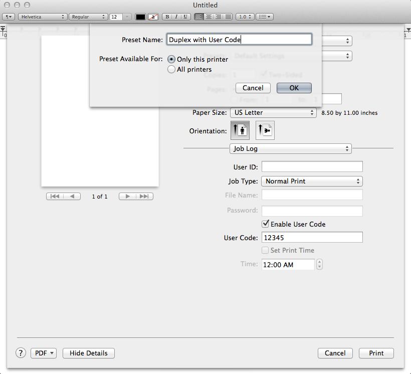 OS X print dialog - open preset name dialog box