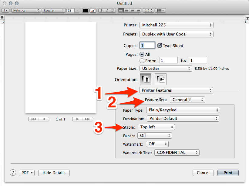OS X print dialog - open printer features menu