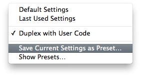 Save Current Settings as Preset... dialog box