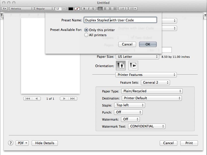 Open Preset Name dialog box