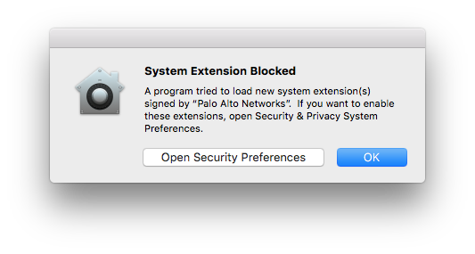 macOS prompt displaying System Extension Blocked for Palo Alto Networks
