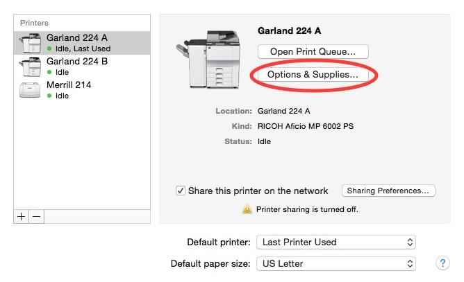 OS X Print options