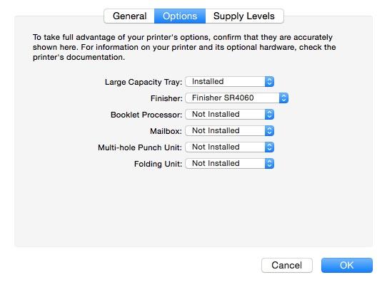 OS X Print options dialog