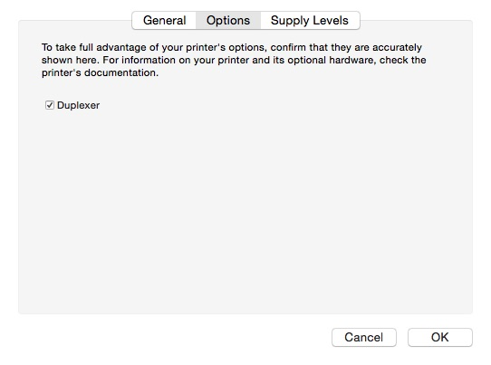 OS X Printer options dialog variant
