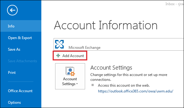 Office 365 outlook 2016 2013 migrating uwm email - Office 365 server settings for outlook 2013 ...