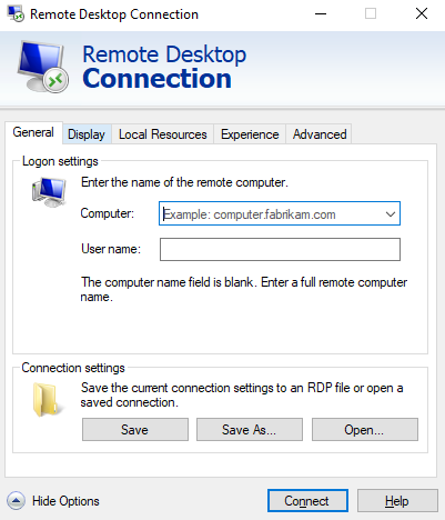 General RDP settings, showing the save button and connect button