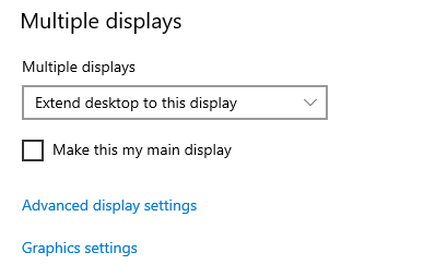 Multiple Display settings shown
