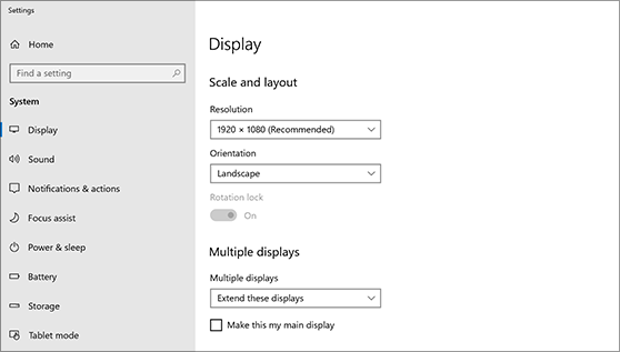 display settings on windows